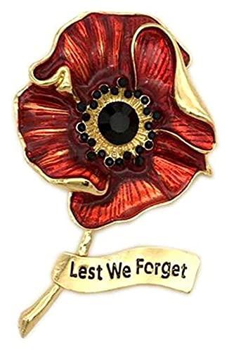 X/L - Spilla smaltata con papavero rosso e foglia smaltata per il giorno della memoria dei veterani, Lest We Forget Remembrance Day Memorial Day Gifts Fashion Jewelry (Colore: 03)