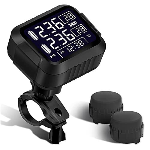 OBEST 1 Sensor TPMS Inalámbrico para Motocicleta, con 2 Sensores Externos, Impermeable y sin Empañamiento, el Sistema de Detección de Valor de Alarma de Dos Rondas se Puede Configurar por Separado