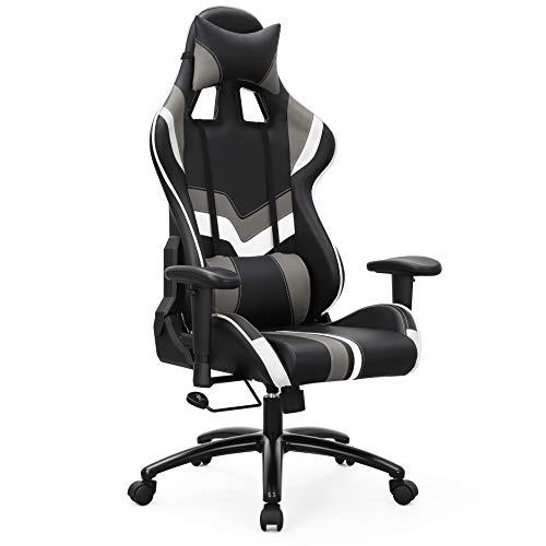 SONGMICS Bürostuhl Gaming Stuhl Chefsessel mit Armlehnen, inklusiv Kopfkissen und Lendenkissen, schwarz weiß, RCG27BW