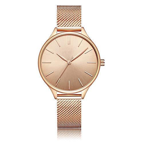 YQCH Relojes de Mujer Muñequera de Lujo Muñeca Reloj Reloj de Acero Lady Impermeable Rose Drade Dorz Discos Regalos para Mujeres (Color : D)