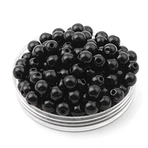 Perlin Perlas de cera (4 mm, 800 unidades), color crema, blanco y negro