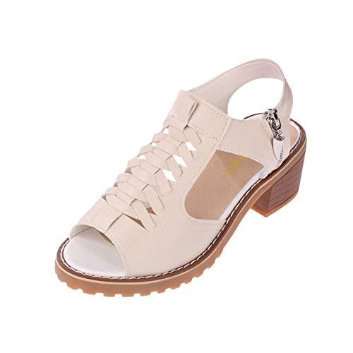 Sandalen Damen Sommer Frauen High Heels Hausschuhe Einfach Elegante Reißverschluss Slipper Einfarbige Leder Gewebtes Vamp Outdoorsandalen Beiläufiger Mode Sexy Pantoffel