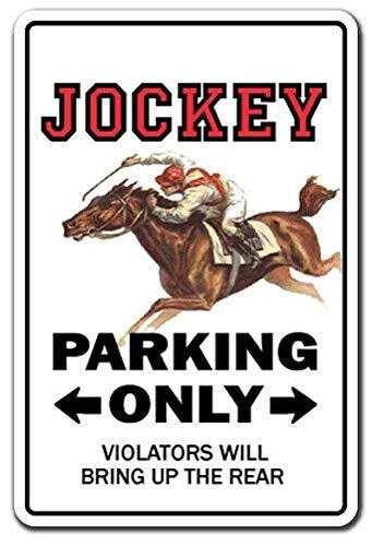 HONGXIN Jockey Parking Horse Racing Derby Retro Iron Painting Letreros de pared de estaño Señal de advertencia de metal Cartel Decoración de arte para Bar Cafetería Garaje Hotel Oficina Dormitorio
