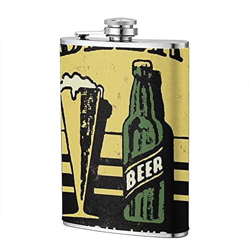 mengmeng Cartel de cerveza retro 8 onzas portátil petaca de bolsillo de acero inoxidable frasco de bolsillo de whisky para escalada, camping, barbacoa, bar, fiesta, bebedor