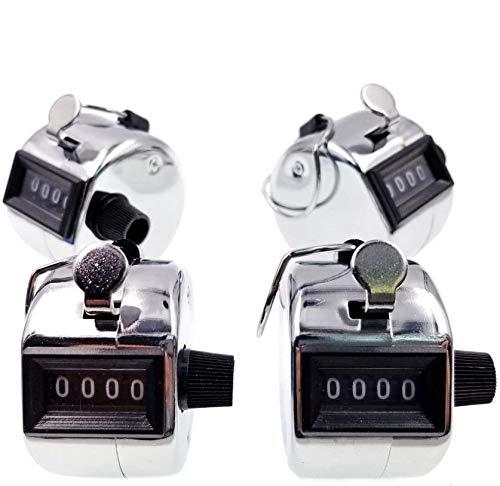 JZK® 4 x Metall Schrittzähler Handzähler 4 stellige mechanische Zähler mit Metallschlaufe für Inventur Sport Messen, Silber