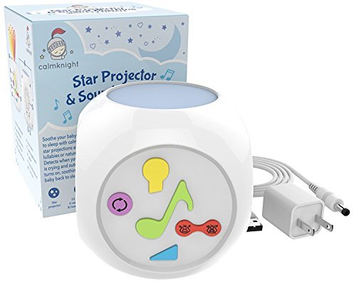 [New Version] CalmKnight Star Projector Sound Machine with Cry Detect Baby White...