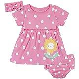 Gerber Baby Girls' 3-Piece Dress, Diaper Cover and Headband Set, Pink Sunflower, 0-3 Months