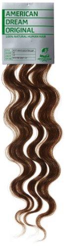 American Dream - A4/QFC12/18/5B - 100 % Cheveux Naturels - Douce Ondultation - Pièce Unique Extensions à Clipper - Couleur 5B - Safari - 46 cm