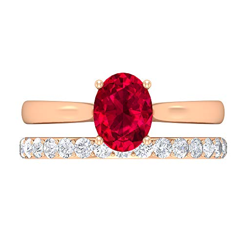 Conjunto de anillos de novia de rubí, anillo de compromiso cónico, piedras preciosas de 2,09 CT, anillo solitario ovalado D-VSSI Moissanite 8X6, 14K Oro rosa, Rubí, Size:EU 70