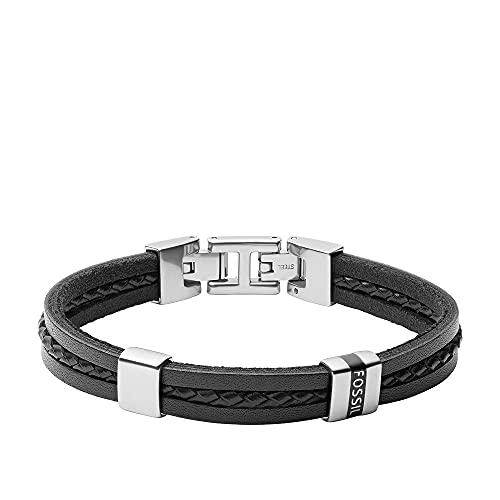 Fossil Herren Armband Leather Essentials mehrsträngig Leder schwarz, JF03686040