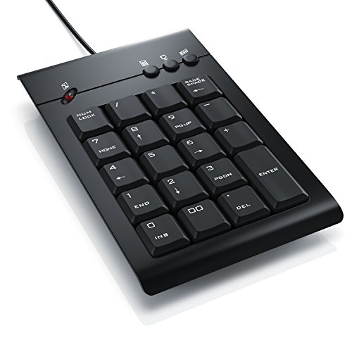 CSL - Numpad Keypad inkl. Mulitmediatasten - USB-Nummerntastenfeld - Nummernblock Zusatztastatur - 3 Multimedia Keys - 19 Tasten - für Laptop Ultrabook Netbook Desktop PC - kabelgebunden