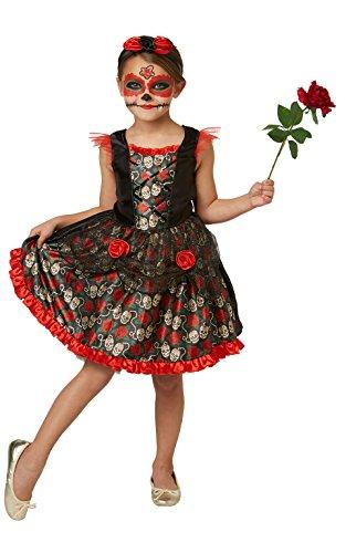 Rubie's 2630709L Red Rose Day of the Dead, kostuum voor kinderen, L