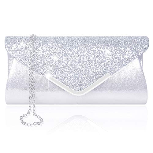 Women Evening Envelope Handbag Prom Sequin Clutch Purse Shoulder Cross Body Bag
