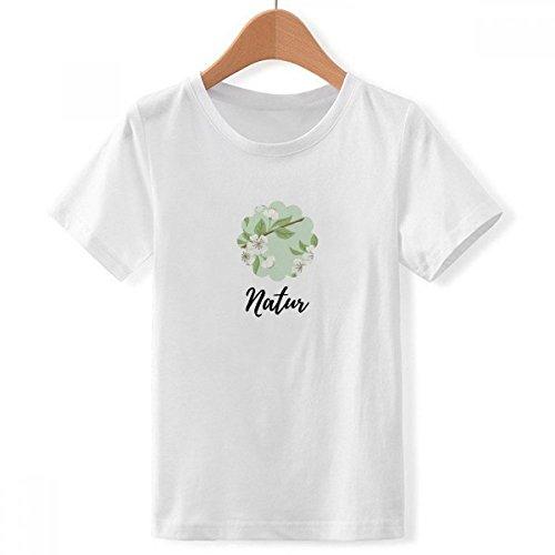 DIY thinker jongens witte perzik bloem tekening plant met ronde hals wit T-shirt