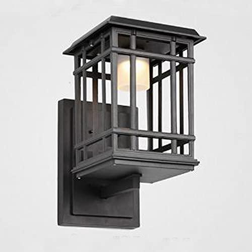 Tanktoyd Lámpara de pared para exteriores vintage Estilo chino creativo Aplique impermeable LED Linterna solar Simplicidad moderna Iluminación de pared para patio Porche Jardín Balcón Lámpara decorati