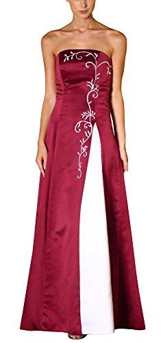Romantic-Fashion Damen Ballkleid Abendkleid Brautkleid Lang Modell E556 Zweifarbig Stickerei DE Rot Größe 42