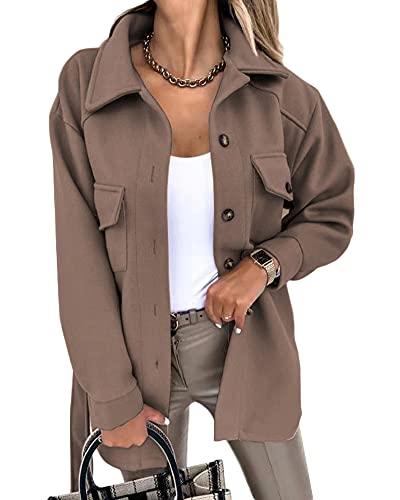 YAOTT Camisa gruesa para mujer Cortavientos de lana sintética Abrigo de mezcla de lana con cinturón Abrigo...