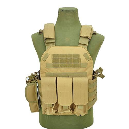 YANODA Taktische Weste Rüstung Jagdträger Airsoft Pouch Combat Gear Sport (Color : Khika, Size : One Size)
