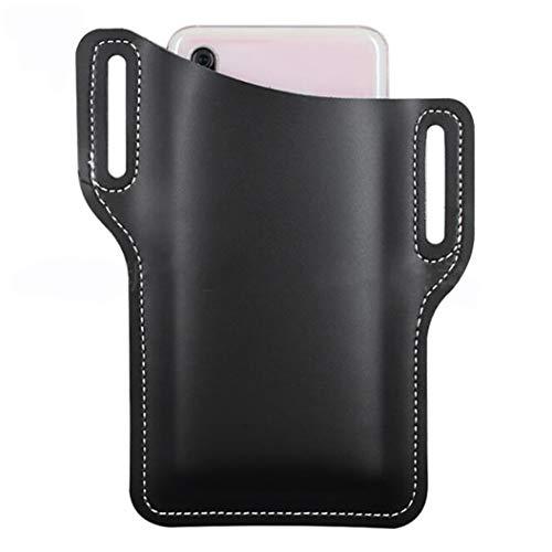 LPOQW Bolsa de cinturón para teléfono celular, estilo retro, portátil, con cintura ajustada, de piel sintética, cinturón de protección para teléfono móvil, cinturón de decoración, color negro