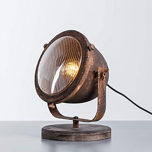 Tischleuchte, 1x E27 max. 40W, Metall/Holz, rost/schwarz