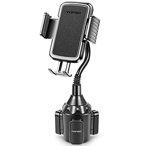 [Upgraded] TOPGO Phone Holder Car Cup Mount,Cup Holder Phone Holder for Car,Universal Adjustable Gooseneck Cup Holder Cradle Car Mount for Cell Phone iPhone,Samsung,LG (Black)