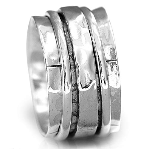 Boho-Magic 925 Sterling Silver Spinner Ring for Women Hammered Wide Fidget Ring Band (8)