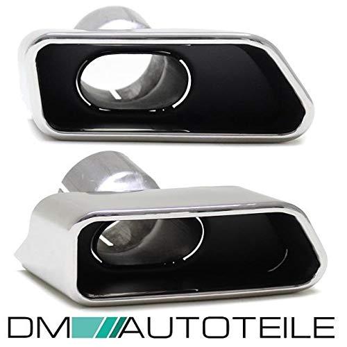 DM Autoteile Chrom Auspuffblenden SET eckig + Zubehör passend für F10 F11 550 M-Paket