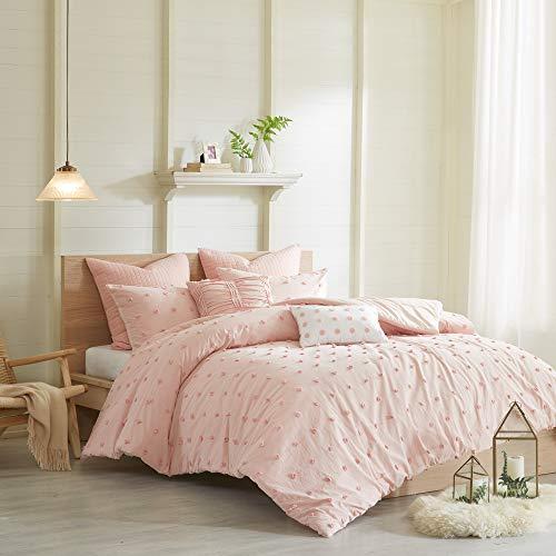 "Urban Habitat 100% Cotton Comforter Set-Tufts Pompom Design All Season Bedding, Matching Shams, Decorative Pillows, Full/Queen(88""x92""), Brooklyn, Jacquard Pink 7 Piece"
