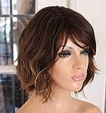 WQWIG Profundo Ola de Oro Peluca de Pelo de Las Mujeres Pelucas llenas sintéticas Corto Peinado Rizado Rubio Resistente al Calor
