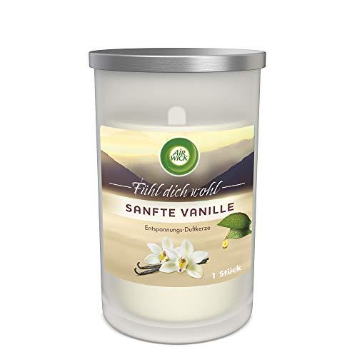 Air Wick Entspannungs-Duftkerze im Glas – Duft: Sanfte Vanille – Enthält natürliche ätherische Öle – 1 x Duftkerze in weiß
