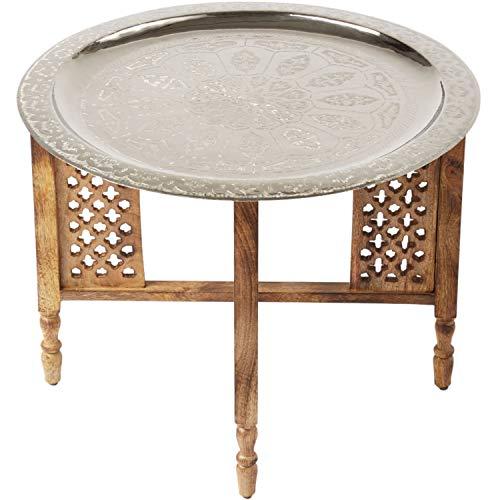 Marokkanischer Runder Tisch Couchtisch Hania ø 60cm rund | Orientalischer Wohnzimmertisch mit klappbaren Vintage Gestell aus Holz in Braun | Das Tablett Dieser Klapptisch ist aus Metall in Silber