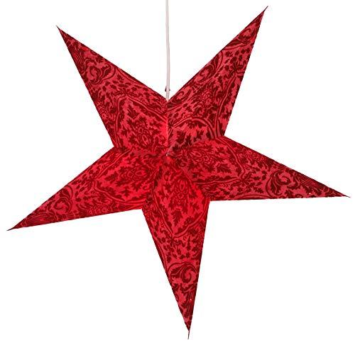 Guru-Shop Faltbarer Advents Leucht Papierstern, Weihnachtsstern 60 cm - Nemesis Rot, Star Fensterdeko, 7 Spitzen