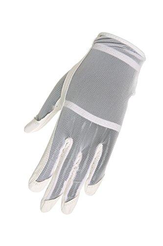 HJ Glove Luva de golfe feminina branca Solaire comprimento total, grande, mão esquerda