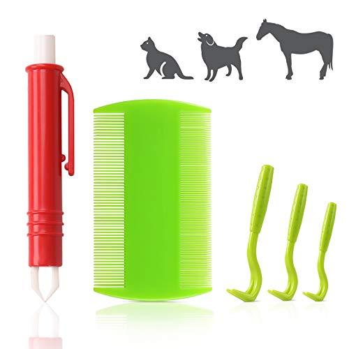Reastar Zeckenentferner Set 5 Stück Zeckenentfernung, mit 3 Zeckenhaken, 1 Zeckenzange und 1 Läusekamm - für Hunde, Katzen, Pferde, Mensch