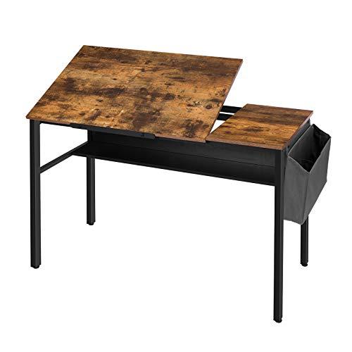 HOOBRO Schreibtisch, Zeichentisch, Computertisch kippbare Tischfläche, Bürotisch mit 2 Haken und abnehmbarem Ablagekorb, mit Anti-Rutsch-Streifen und Regal, einfach montiert, Vintage EBF55DN01