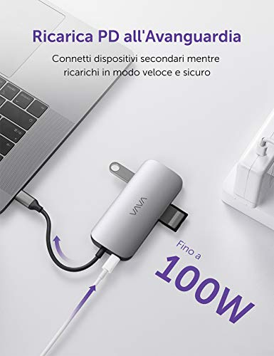 VAVA USB C Hub 9 in 1 Type C Adapter 4K HDMI Port, 3.5mm Audio Output, 1Gbps Ethernet RJ45, SD&TFI Kartenleser, 60W PD Ladegerät, USB 3.0/2.0 Ports für MacBook Pro und Laptops