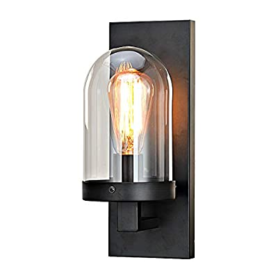 KARMIQI Black Industrial Wall Sconce Lighting, Farmhouse Vintage Wall Lamp with Glass Shade, Antique Rustic Wall Light for Barn Hallway Entryway Restaurant