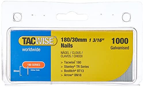 Tacwise 0362 Clavos 180/30mm, Metalizado, 180/30 mm, Set de 1000 Piezas