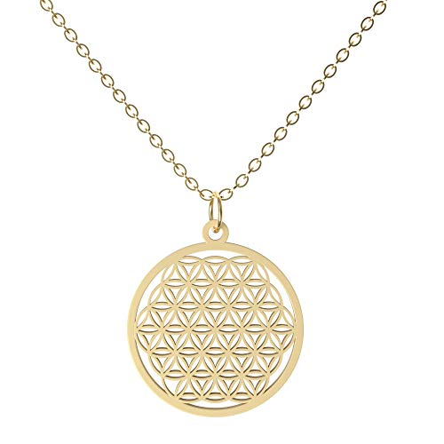EAZY CASE Damen Halskette mit Blume des Lebens Anhänger, modische Kette im Lebensblume Design, verstellbar, Gold