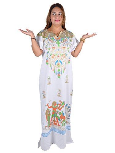 Cleopatra Pharao Kostüm Damen-Kaftan Faschingskostüm Karnevalskostüm Ägypterin, Farbe: weiß (52-54 (2XL))