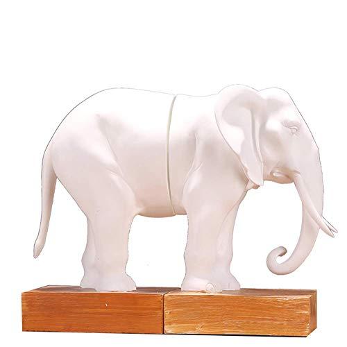 LYTBJ Estatua Decorativa de Escritorio, Ornamento de Resina de estantería para Libros de decoración de sujetalibros de Elefante H9.8 Pulgadas