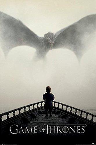"""Póster Game of Thrones/Juego de Tronos """"A Lion & a Dragon/Un León y un Dragón"""" (61cm x 91,5cm) + 2 marcos negros para póster con suspención"""