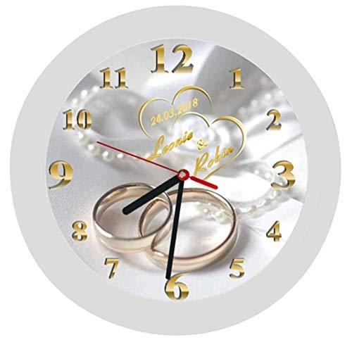 Wanduhr 5 -Geschenk-Hochzeitstag-Hochzeitstaggeschenk-Ehe-Trauringe-Herzen-Polterabend-personalisiert *KEIN TICKEN*