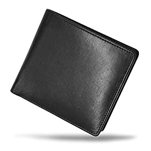 MURA 二つ折り財布 財布 メンズ 本革 二つ折り 軽い レザー カード7枚収納 隠しポケット (ブラックA type:縦型コインポケット)