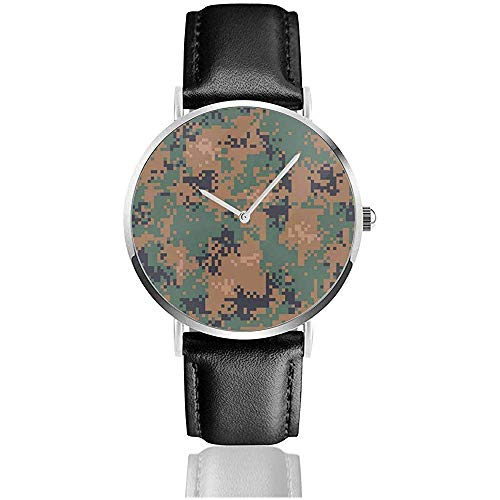 Digital Woodland camouflage seamless patroon roestvrij staal lederen band horloges polshorloges