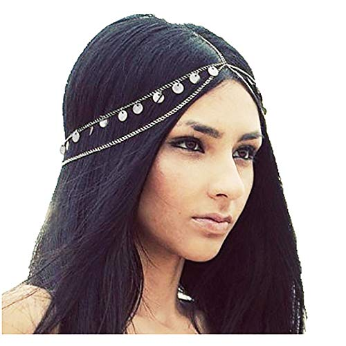 Barode Boho Layered Head Chains Sequins Tassel Fashion Headband Jewelry for Women and Girls (Silver)
