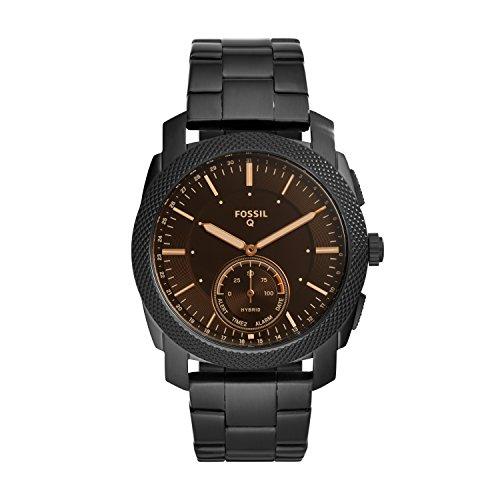 Fossil Men s 45MM Machine Stainless Steel Hybrid Smart Watch, Color: Black (Model: FTW1165)