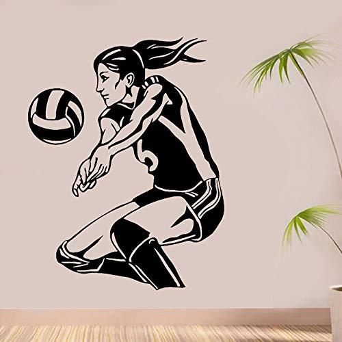 Jugador de voleibol femenino etiqueta de la pared decoración del hogar pegatinas de pared habitación de las niñas dormitorio decoración calcomanías otro color 42x54 cm