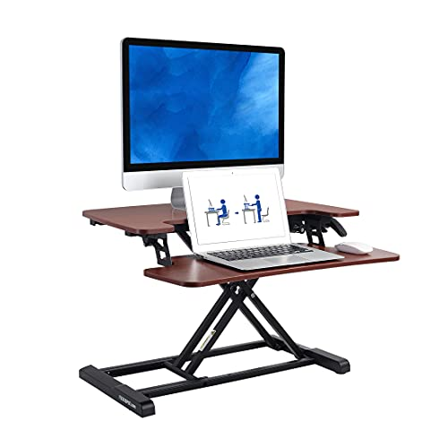 """FLEXISPOT Stand up Desk Converter -28"""" Standing Desk Riser with Deep Keyboard Tray for Laptop (28"""", Mahogany, M7N)"""