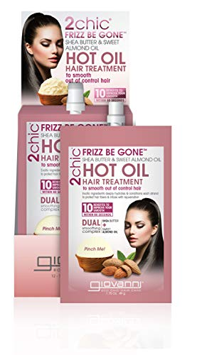 GIOVANNI 2chic Frizz Be Gone Hot Oil Treatment, 1.75 oz. Anti Frizz Treatment Helps to Prevent Breakage, Shea Butter & Sweet Almond Oil, Jojoba, Baobab, Paraben Free, Color Safe (Pack of 12)